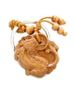 Amulet Fortune and Courage Dragon Holding Lucky Coins Charms Feng Shui Symbols Keychain Blessing