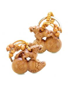 Amulet Fortune Dragon Riding on Magic Wulu and Lucky Coin Feng Shui Symbols Keychain Set Blessings