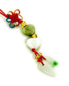 Good Luck and Love Talisman Natural Jade Hearts Cell Phone Charm