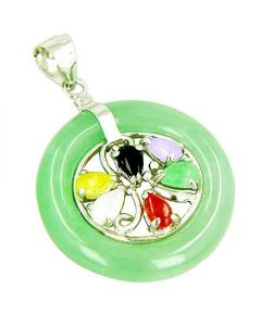 Amulet Good Luck Donut And Flower Green Jade Silver Pendant
