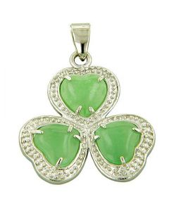 Amulet Lucky Clover Green Jade 925 Silver Pendant