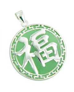 Amulet Good Luck And Wealth Circle Green Jade Silver Pendant