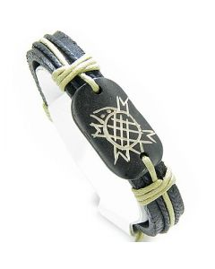 Lucky Turtle Leather And Bone Bracelet