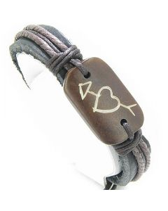 Heart And Love Connection Leather And Bone Bracelet