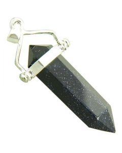 Good Luck Talisman Blue Gold Stone Crystal 925 Silver Pendant