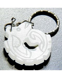 Good Luck And Protection Talisman Dragon White Jade Keychain