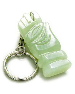 Good Luck And Protection Eye And Buddha Hand Light Green Jade Keychain