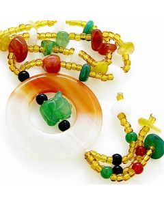 Money and Good Luck Talisman Agate And Aventurine Pig Necklace