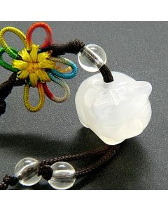 Good Luck Talisman White Agate Donuts Cell Phone Charm
