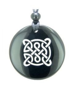 Life Protection Celtic Shield Knot Amulet Black Onyx Magic Gemstone Spiritual Pendant Necklace