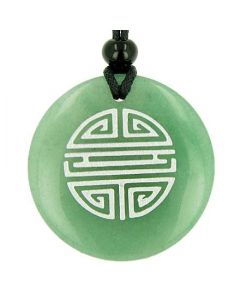 Long Life Force Magic Amulet Green Aventurine Gemstone Circle Good Luck Powers Pendant Necklace