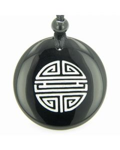 Long Life Force Magic Amulet Black Onyx Gemstone Circle Spiritual Powers Pendant Necklace