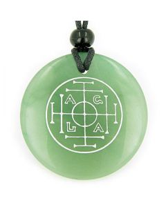 Fortune Wealth Success Talisman Green Aventurine Magic Gemstone Circle Good Luck Pendant Necklace