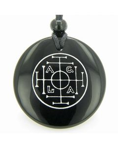 Fortune Wealth Success Talisman Black Onyx Magic Gemstone Circle Spiritual Powers Pendant Necklace