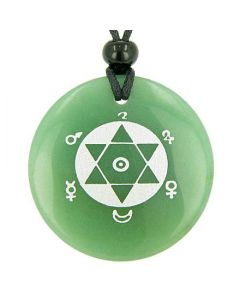 King SolomSeal of Success Amulet Green Aventurine Gemstone Circle Good Luck Powers Pendant Necklace