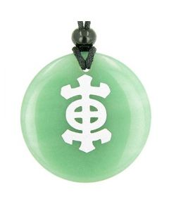 Japanese Emblem Druids Amulet Green Aventurine Gemstone Circle Good Luck Powers Pendant Necklace