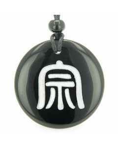 Far Eastern Protection Druids Amulet Black Onyx Gemstone Circle Spiritual Powers Pendant Necklace