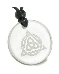 Amulet Celtic Triquetra Magic Triangular Triple Protection Power Quartz MedalliPendant Necklace