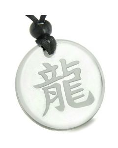 Amulet Emperor Kanji Dragof Protection Fortune Crystal Quartz Medallion Necklace