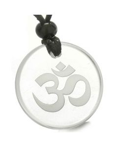 Amulet Ancient OM Tibetan Symbol Magic Powers Protection Crystal Quartz Medallion Pendant Necklace