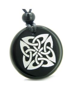 Amulet Life Protection Celtic Shield Knot Ancient Magic Powers Onyx Medallion Necklace