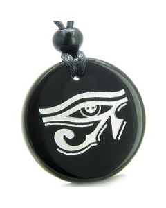 Amulet All Seeing Eye of Horus Egyptian Magic Protection Genuine Onyx Medallion Pendant Necklace
