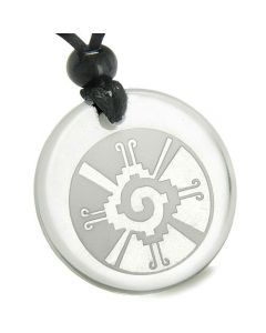 Amulet Mayan Unity of All Things Hunab Ku Protection Powers Quartz Medallion Necklace