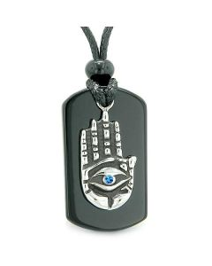 All Seeing Feeling Buddha Eye Hamsa Magic Powers Agate Tag Blue Crystal Pendant Necklace