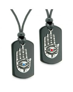 All Seeing Feeling Buddha Eye Hamsa Love Couples Best Friends Agate Tag Red Blue Crystals Necklaces