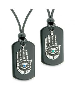 All Seeing Feeling Buddha Eye Hamsa Love Couple Best Friend Agate Tag Blue Green Crystals Necklaces