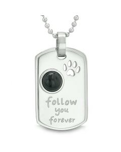 Follow You Forever Wolf Paw Amulet Dot Tag Positive Energy Pendant Necklace