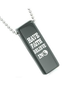 Have Faith Believe in Miracles Reversible Amulet Yin Yang Energy Tag Black Agate Pendant Necklace