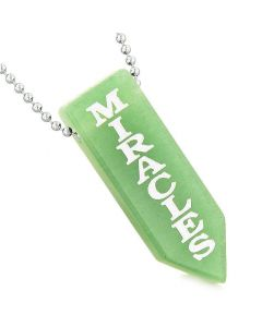 Have Faith Believe in Miracles Reversible Yin Yang Energy Amulet Arrowhead Green Quartz Necklace