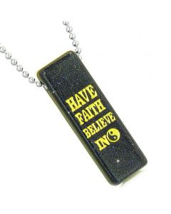 Have Faith Believe in Miracles Reversible Amulet Yin Yang Energy Tag Blue Goldstone Necklace