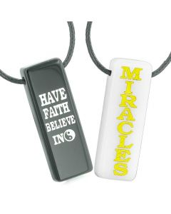 Have Faith Believe in Miracles Love Couples Best Friends Yin Yang White Quartz Agate Necklaces