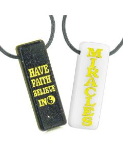 Have Faith Believe in Miracles Love Couples Best Friends Yin Yang White Quartz Goldstone Necklaces