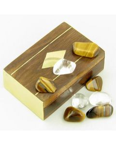 Small Treasure Chest Evil Eye Protection Wish Box with Tiger Eye