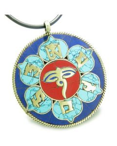 Amulet Tibetan Mantra Om Mani Padme Hum Buddha All Seeing Eye Turquoise Lapis Lotus Necklace