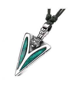 Arrowhead Wild Tiger Head Brave Powers Protection Amulet Sparkling Royal Green Adjustable Necklace