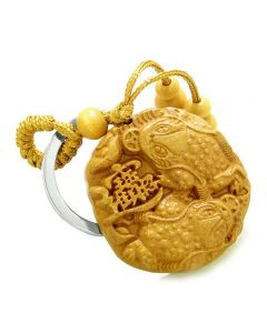 Amulet Double Lucky Todd Fortune Coins Good Luck Powers Charms Feng Shui Keychain Blessing