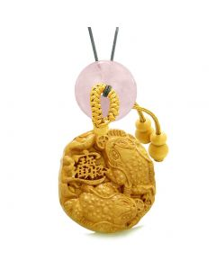 Fortune Coins Magic Todd Car Charm or Home Decor Rose Quartz Lucky Donut Protection Powers Amulet