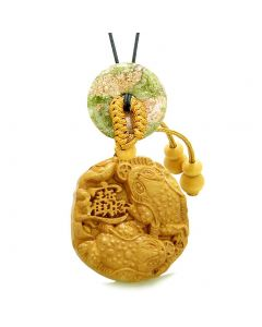 Fortune Coins Magic Todd Car Charm or Home Decor Unakite Lucky Donut Protection Powers Amulet