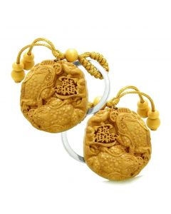 Amulet Double Lucky Todd Fortune Coins Good Luck Powers Charms Feng Shui Keychain Set Blessings