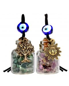 Tree of Life Magic Sun Powers Small Car Charms or Home Decor Bottles Moss Agate Fluorite Amulets