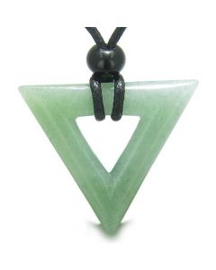 Amulet Triangle Magic Protection Lucky Charm Green Aventurine Arrowhead Healing Pendant Necklace