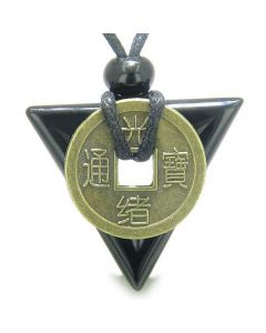 Amulet Triangle Protection Powers Antique Lucky Coin Charm Black Onyx Arrowhead Pendant Necklace