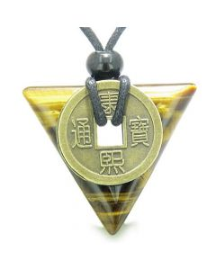Amulet Triangle Protection Powers Antique Lucky Coin Charm Tiger Eye Arrowhead Pendant Necklace