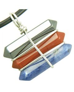 Life Power Silver Triple Lucky Amulet Crystal Point Wands Hematite Red Jasper Sodalite Necklace
