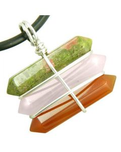 Life Power Silver Triple Lucky Amulet Crystal Point Wands Unakite Rose Quartz Carnelian Necklace
