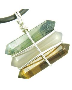 Life Power Silver Triple Lucky Amulet Crystal Point Wands Green Moss Agate Tiger Eye Necklace